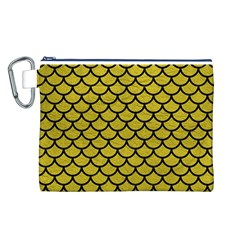 Scales1 Black Marble & Yellow Leather Canvas Cosmetic Bag (l)