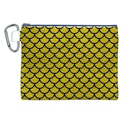 Scales1 Black Marble & Yellow Leather Canvas Cosmetic Bag (xxl)