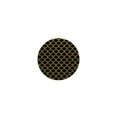 Scales1 Black Marble & Yellow Leather (r) 1  Mini Magnets