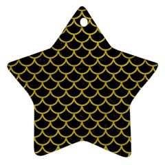 Scales1 Black Marble & Yellow Leather (r) Ornament (star)