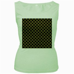 Scales1 Black Marble & Yellow Leather (r) Women s Green Tank Top