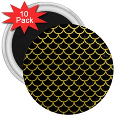 Scales1 Black Marble & Yellow Leather (r) 3  Magnets (10 Pack)