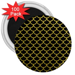 Scales1 Black Marble & Yellow Leather (r) 3  Magnets (100 Pack)