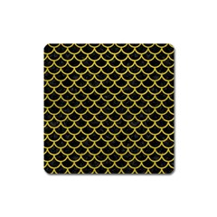 Scales1 Black Marble & Yellow Leather (r) Square Magnet