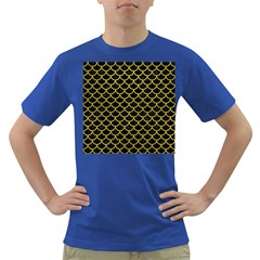 Scales1 Black Marble & Yellow Leather (r) Dark T Shirt