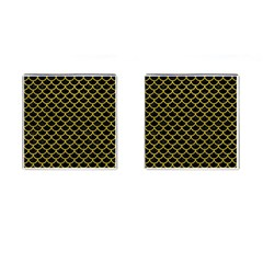Scales1 Black Marble & Yellow Leather (r) Cufflinks (square)