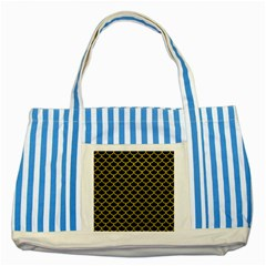 Scales1 Black Marble & Yellow Leather (r) Striped Blue Tote Bag
