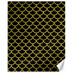 Scales1 Black Marble & Yellow Leather (r) Canvas 16  X 20