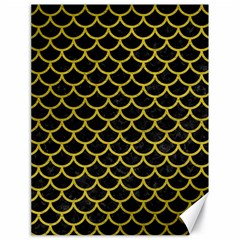 Scales1 Black Marble & Yellow Leather (r) Canvas 18  X 24