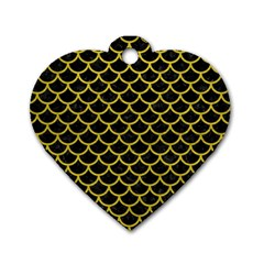 Scales1 Black Marble & Yellow Leather (r) Dog Tag Heart (two Sides)