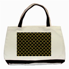 Scales1 Black Marble & Yellow Leather (r) Basic Tote Bag (two Sides)