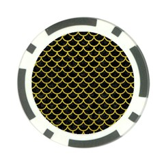 Scales1 Black Marble & Yellow Leather (r) Poker Chip Card Guard