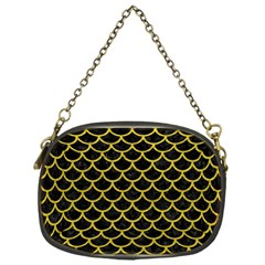 Scales1 Black Marble & Yellow Leather (r) Chain Purses (one Side)