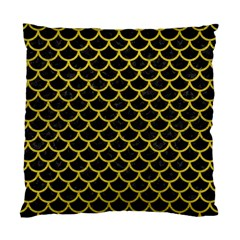 Scales1 Black Marble & Yellow Leather (r) Standard Cushion Case (one Side)