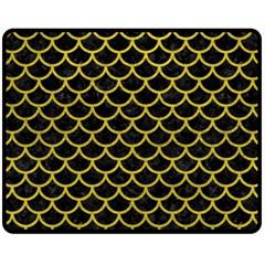 Scales1 Black Marble & Yellow Leather (r) Fleece Blanket (medium)