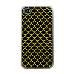 Scales1 Black Marble & Yellow Leather (r) Apple Iphone 4 Case (clear)
