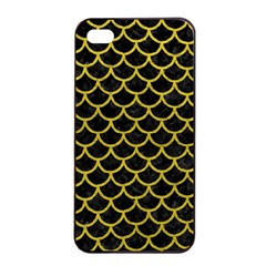 Scales1 Black Marble & Yellow Leather (r) Apple Iphone 4/4s Seamless Case (black)