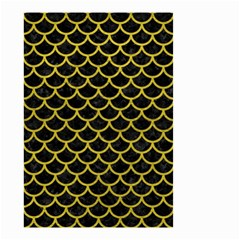 Scales1 Black Marble & Yellow Leather (r) Small Garden Flag (two Sides)