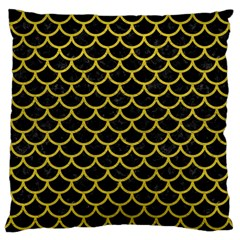 Scales1 Black Marble & Yellow Leather (r) Large Cushion Case (one Side)
