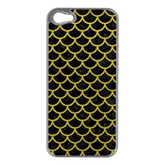 Scales1 Black Marble & Yellow Leather (r) Apple Iphone 5 Case (silver)