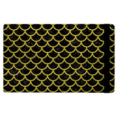 Scales1 Black Marble & Yellow Leather (r) Apple Ipad 2 Flip Case