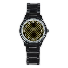 Scales1 Black Marble & Yellow Leather (r) Stainless Steel Round Watch