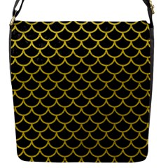 Scales1 Black Marble & Yellow Leather (r) Flap Messenger Bag (s)