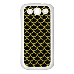Scales1 Black Marble & Yellow Leather (r) Samsung Galaxy S3 Back Case (white)