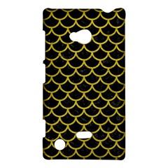 Scales1 Black Marble & Yellow Leather (r) Nokia Lumia 720