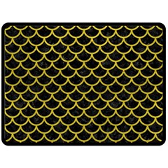 Scales1 Black Marble & Yellow Leather (r) Double Sided Fleece Blanket (large)