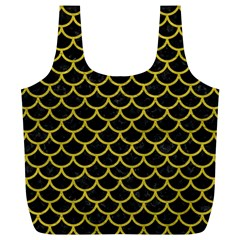 Scales1 Black Marble & Yellow Leather (r) Full Print Recycle Bags (l)