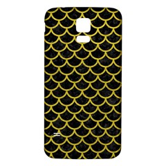 Scales1 Black Marble & Yellow Leather (r) Samsung Galaxy S5 Back Case (white)