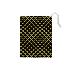 Scales1 Black Marble & Yellow Leather (r) Drawstring Pouches (small)