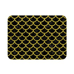 Scales1 Black Marble & Yellow Leather (r) Double Sided Flano Blanket (mini)