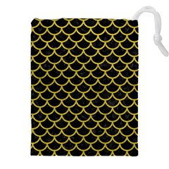 Scales1 Black Marble & Yellow Leather (r) Drawstring Pouches (xxl)