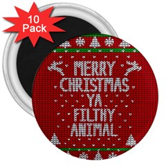 Ugly Christmas Sweater 3  Magnets (10 Pack)