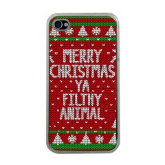 Ugly Christmas Sweater Apple Iphone 4 Case (clear)