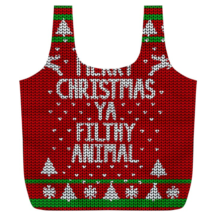Ugly Christmas Sweater Full Print Recycle Bags (L)