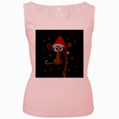 Christmas Giraffe  Women s Pink Tank Top