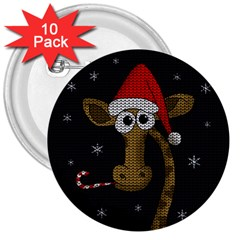 Christmas Giraffe  3  Buttons (10 Pack)