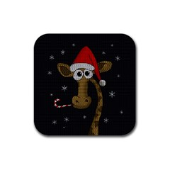 Christmas Giraffe  Rubber Square Coaster (4 Pack)