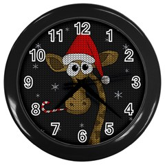 Christmas Giraffe  Wall Clocks (black)