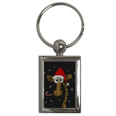 Christmas Giraffe  Key Chains (rectangle)