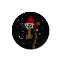 Christmas Giraffe  Rubber Round Coaster (4 Pack)