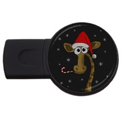 Christmas Giraffe  Usb Flash Drive Round (2 Gb)