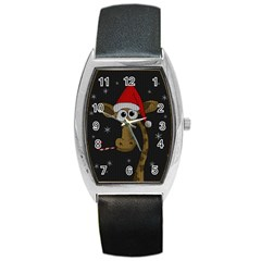 Christmas Giraffe  Barrel Style Metal Watch