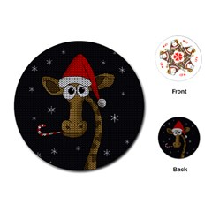 Christmas Giraffe  Playing Cards (round)