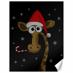 Christmas Giraffe  Canvas 12  X 16