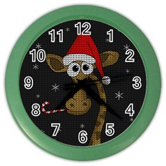 Christmas Giraffe  Color Wall Clocks