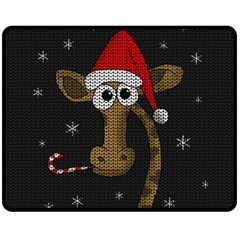 Christmas Giraffe  Fleece Blanket (medium)